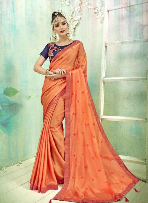 Regular Wear Orange Silk Butti Work Saree