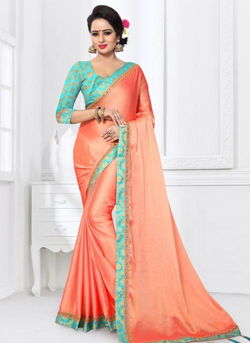 Regular Wear Peach Satin Silk Lace Work Saree