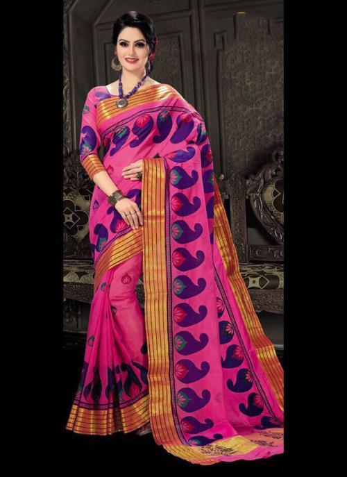 Regular Wear Pink Cotton Silk Embroidery Work Saree