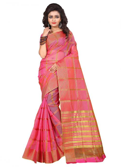 Regular Wear Pink Cotton Silk Zari Work Saree