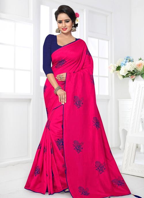 Regular Wear Pink Satin Silk Lace Work Saree