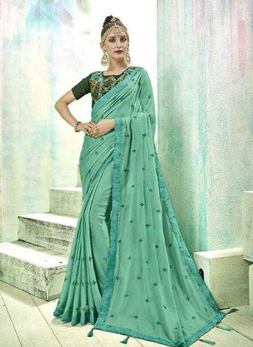 Regular Wear Pista Green Silk Butti Work Saree