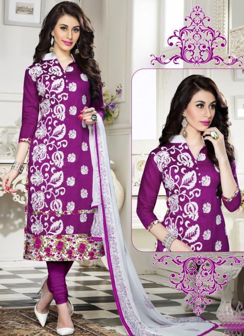 Regular Wear Purple Cotton Embroidery Work Churidar Suit
