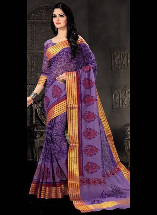 Regular Wear Purple Cotton Silk Embroidery Work Saree