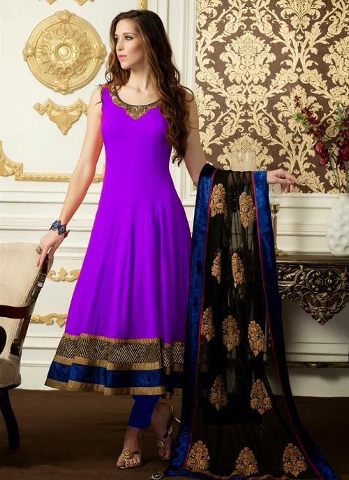 Regular Wear Purple Satin Embroidery Work Anarkali Suit