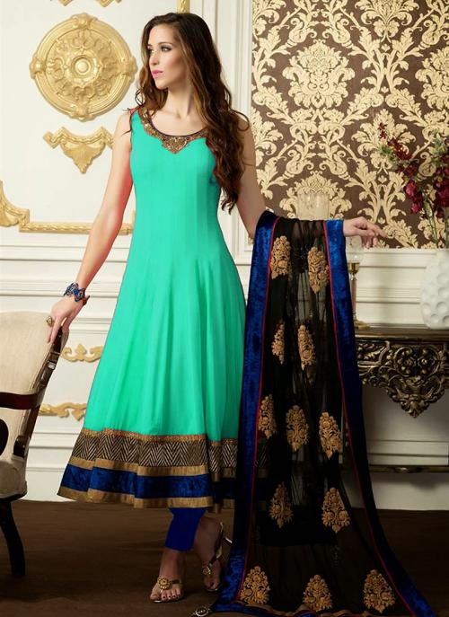 Regular Wear Rama Satin Embroidery Work Anarkali Suit