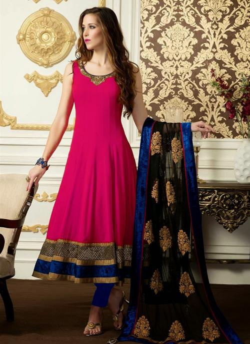 Regular Wear Rani Satin Embroidery Work Anarkali Suit