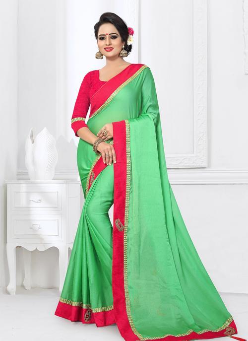 Regular Wear Sea Green Satin Silk Lace Work Saree