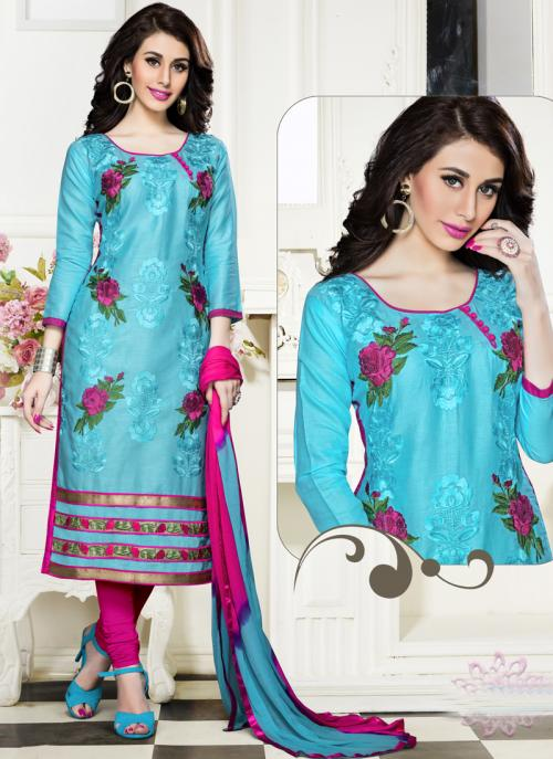 Regular Wear Sky Blue Cotton Embroidery Work Churidar Suit