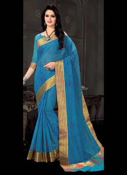 Regular Wear Sky Blue Cotton Silk Embroidery Work Saree