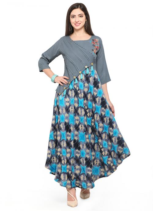 Regular Wear Sky Blue Rayon Printed Work Kurti