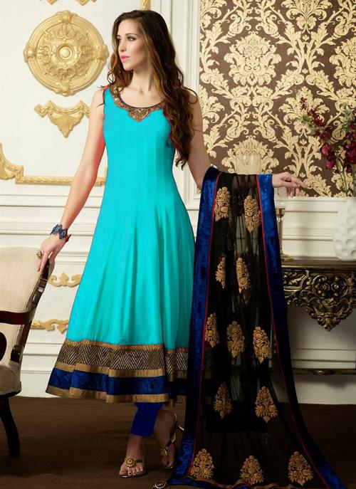 Regular Wear Sky Blue Satin Embroidery Work Anarkali Suit