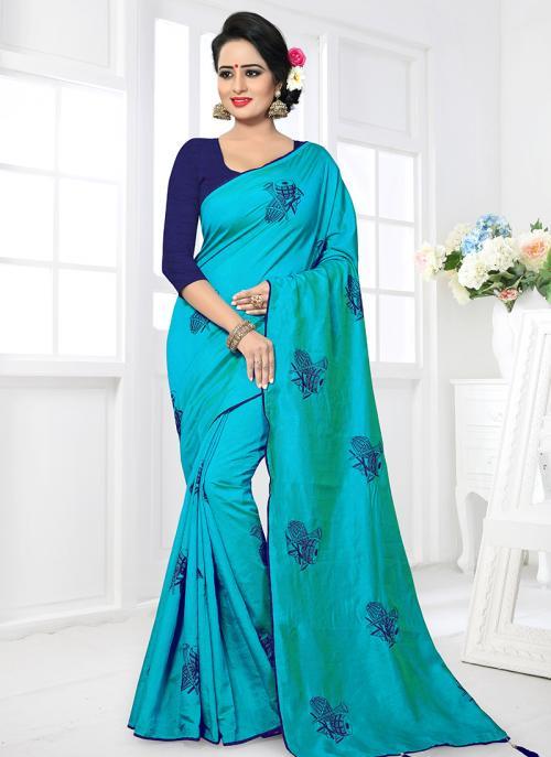 Regular Wear Sky Blue Satin Silk Lace Work Saree