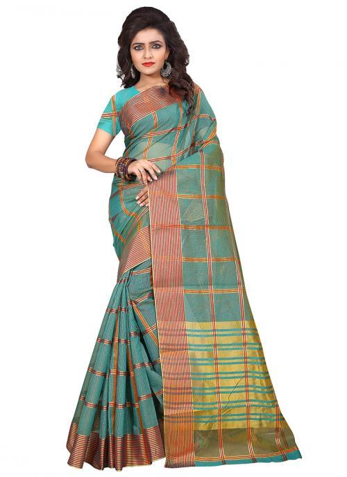 Regular Wear Teal Cotton Silk Zari Work Saree