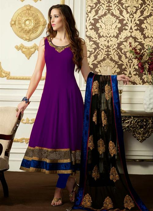 Regular Wear Wine Satin Embroidery Work Anarkali Suit