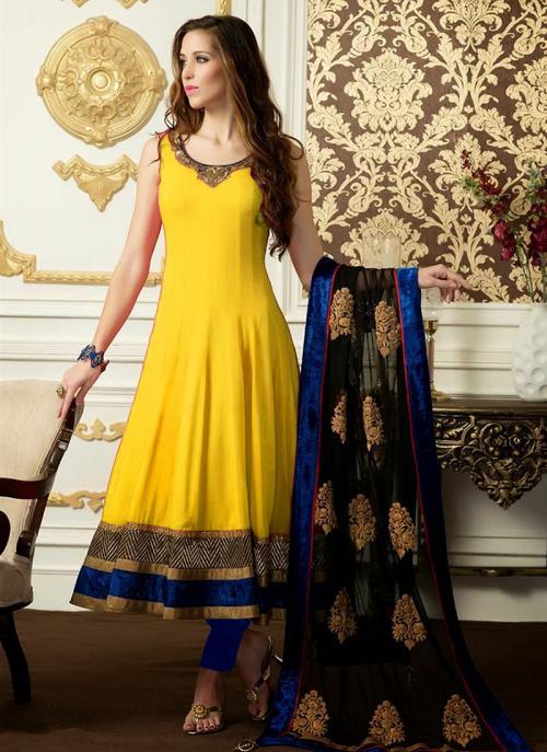 Regular Wear Yellow Satin Embroidery Work Anarkali Suit
