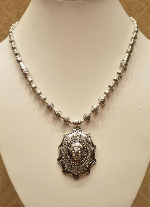Silver oxidised necklace set for women