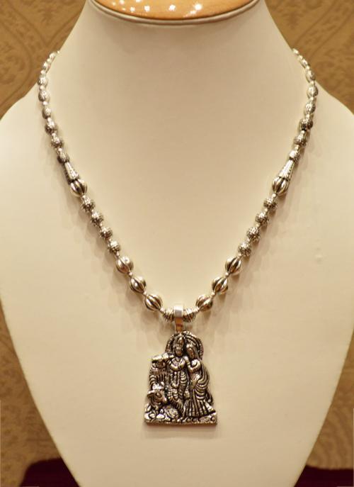 Silver oxidised radhe-krishna necklace set for women