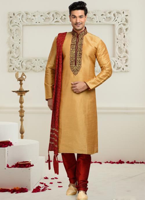 Wedding Wear Beige Art Silk Embroidered Work Churidar Sherwani