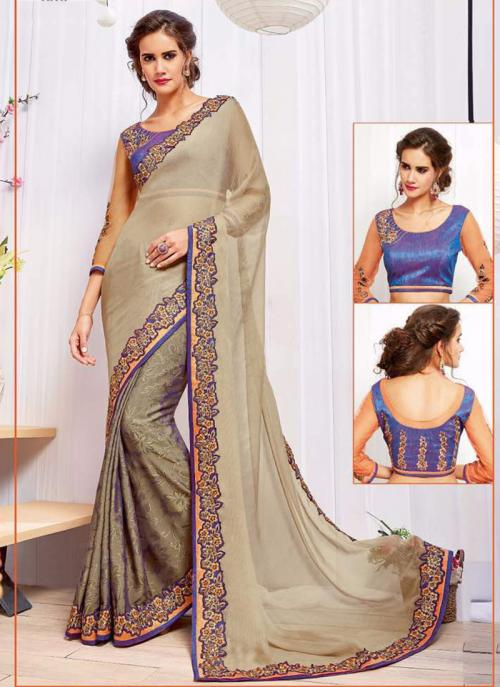 Wedding Wear Beige Georgette Heavy Embroidery Work Saree