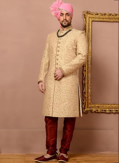 Wedding Wear Beige Jacquard Silk Heavy Embroidery Work Sherwani