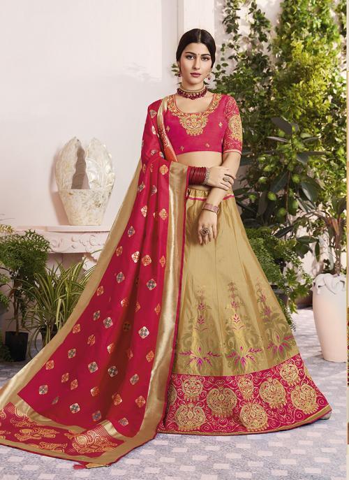 Wedding Wear Beige Jacquard Silk Thread Embroidery Work Lehenga Choli
