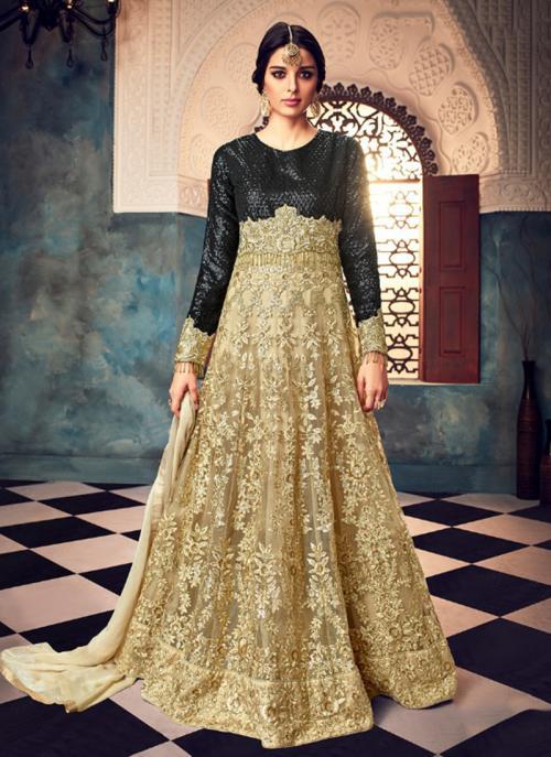 Wedding Wear Beige Net Embroidery Work Anarkali Style