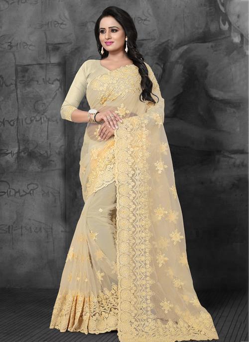 Wedding Wear Beige Net Embroidery Work Saree