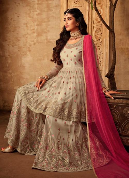 Wedding Wear Beige Net Embroidery Work Sharara Suit