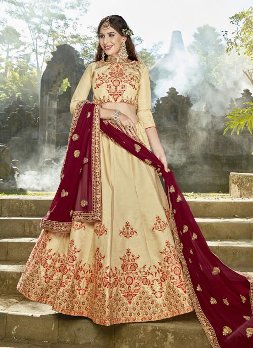 Wedding Wear Beige Silk Embroidery Work Lehenga Choli