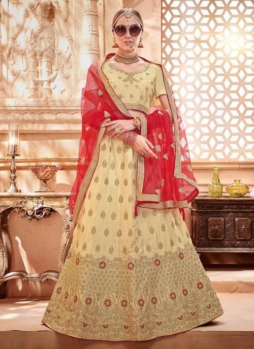 Wedding Wear Beige Silk Zari Butta Work Lehenga Choli