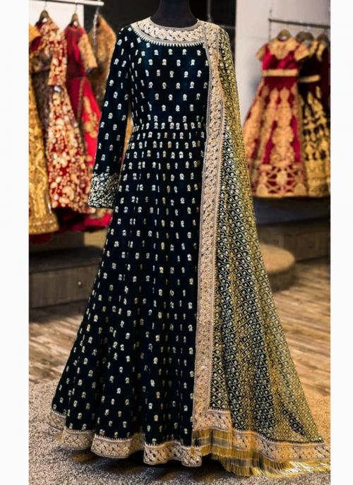 Wedding Wear Black Banglori Silk Butti Work Anarkali Style