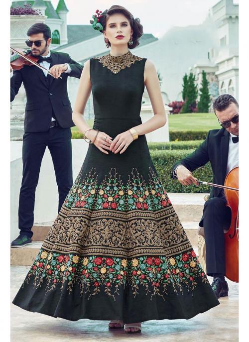 Wedding Wear Black Banglori Silk Hand Work Gown
