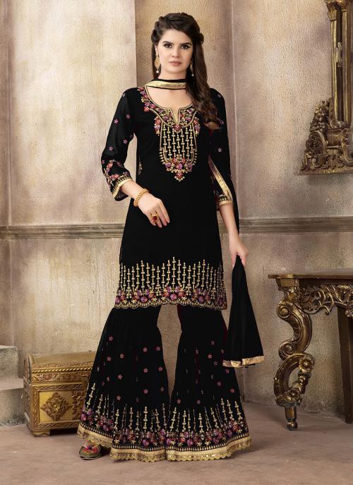 Wedding Wear Black Faux Georgette Embroidery Work Sharara Salwar Suit
