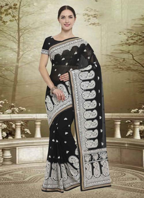 Wedding Wear Black Georgette Embroidery Work Saree