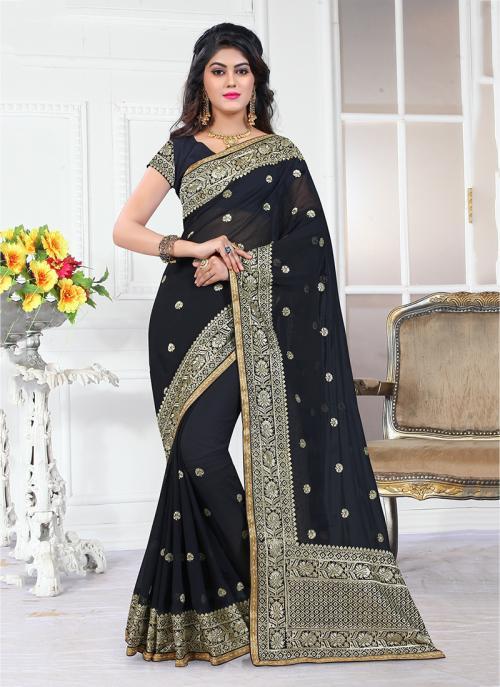 Wedding Wear Black Georgette Heavy Embroidery Border Work Saree