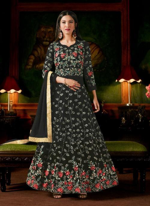 Wedding Wear Black Georgette Heavy Embroidery Work Anarkali Style