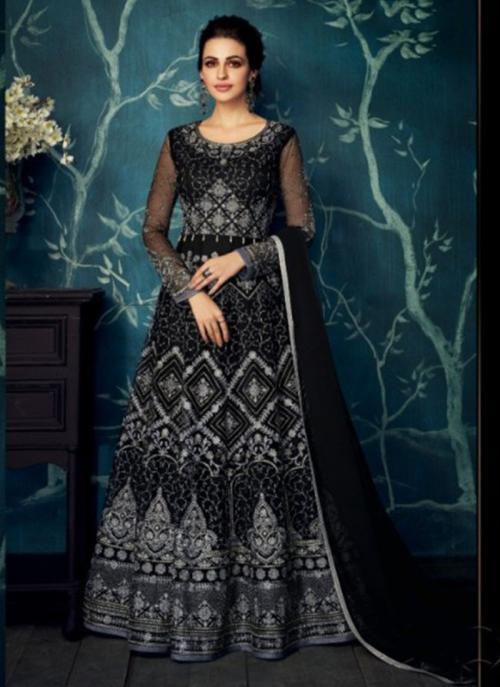 Wedding Wear Black Georgette Net Embroidery Work Anarkali Suit