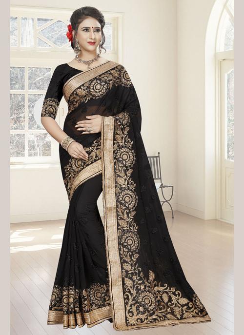 Wedding Wear Black Georgette Resham Work Saree