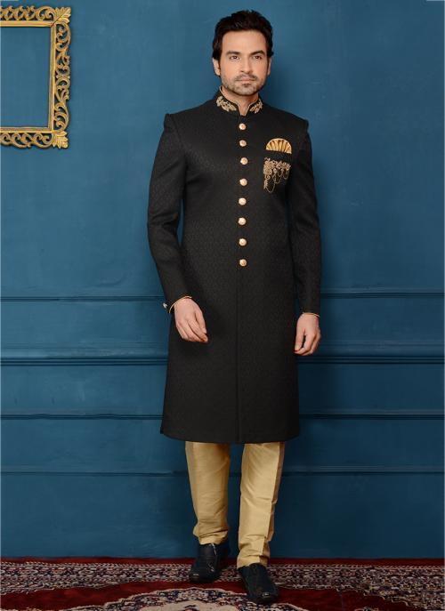 Wedding Wear Black Jacqaurd Embroidery Work Sherwani Style