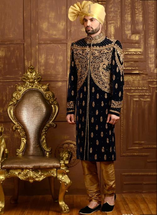 Wedding Wear Black Jacquard Silk Heavy Embroidery Work Sherwani