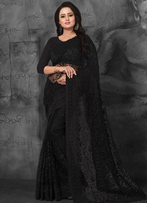 Wedding Wear Black Net Embroidery Work Saree
