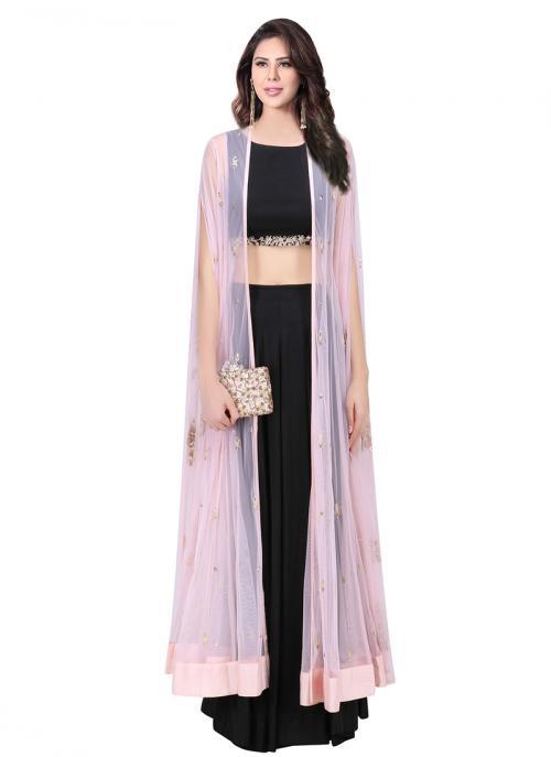 Wedding Wear Black Satin Net Embroidery Work Prathyusha Garimella Designer Jacket Style Skirt Top