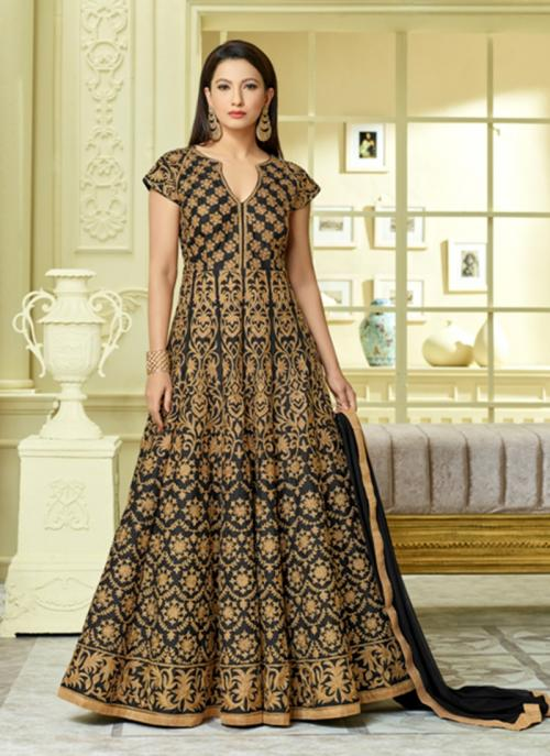 Wedding Wear Black Tapeta Silk Hand Work Anarkali Style