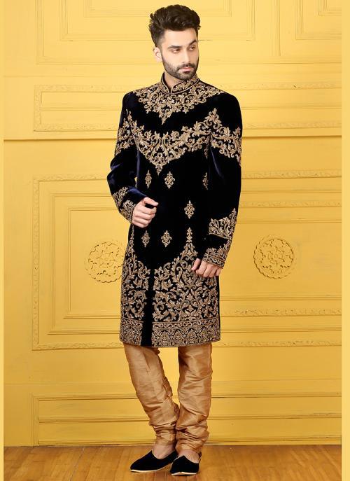 Wedding Wear Black Velvet Embroidered Work Sherwani