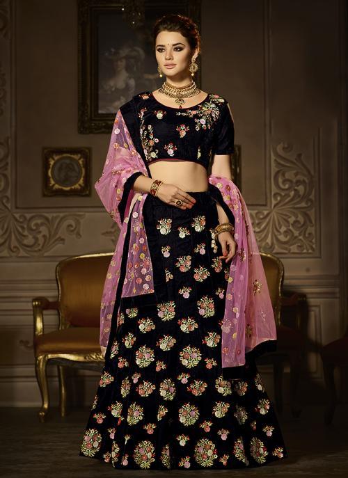 Wedding Wear Black Velvet Hand Work Lehenga Choli