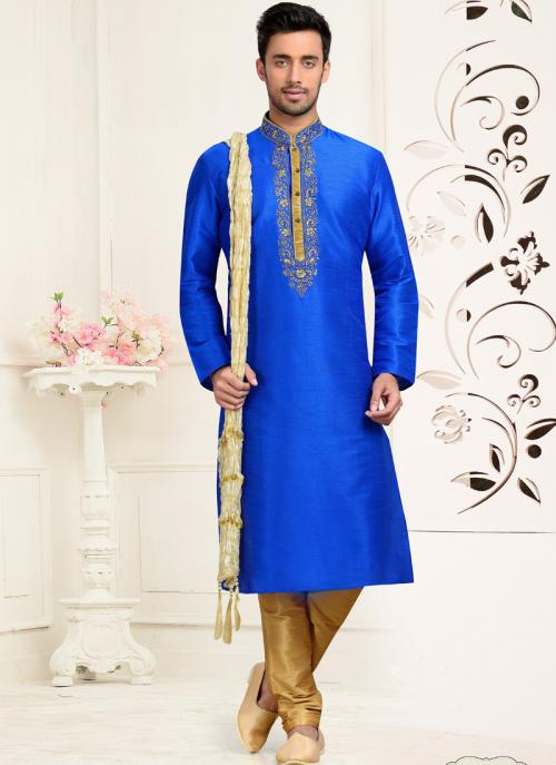 Wedding Wear Blue Art Silk Embroidered Work Churidar Sherwani