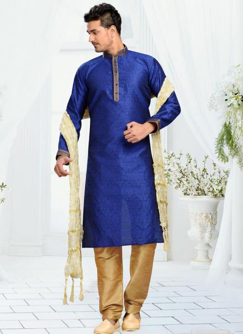 Wedding Wear Blue Art Silk Embroidered Work Churidar Sherwani