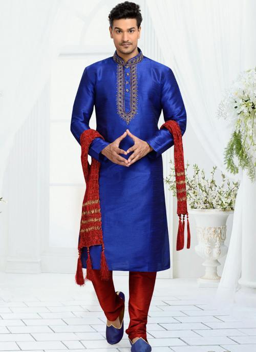 Wedding Wear Blue Dhupion Embroidered Work Churidar Sherwani
