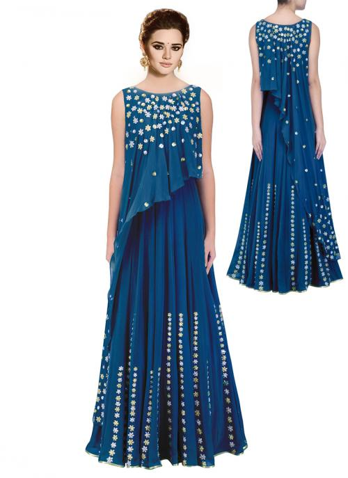 Wedding Wear Blue Georgette Hand Work Anarkali Suit